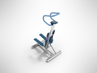 Modern sport trainer stepper with electronic control system blue 3d render on gray background
