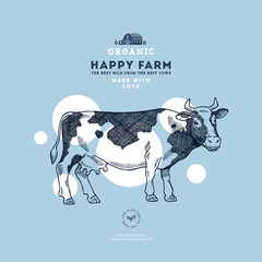 Farm cow design template. Cow illustration. Vector illustration