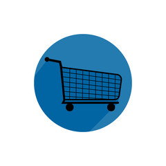 shopping cart round icon long shadow vector