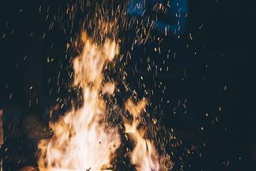Beautiful bonfire burning in the camping area
