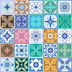 Set of green ceramic tiles. Glazed ceramic mosaic with Moroccan, Spanish, Portuguese motifs.