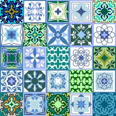 Set of green ceramic tiles. Glazed ceramic mosaic with Moroccan, Spanish, Portuguese motifs.