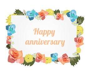 Anniversary card banner with flowers