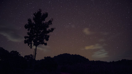 Long exposure and High ISO shot of star and milky way over the mountain at night. red tone effect.