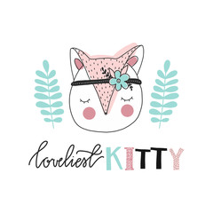 Print for nursery. Scandinavian style baby print. Hand drawn vector illustration with kitty. Vector lettering.