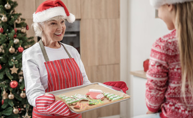 Generous grandmother giving to child self-made holiday pastry