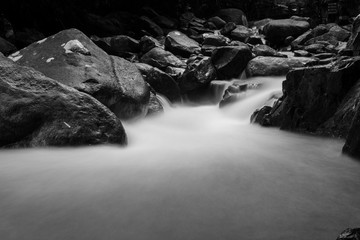 Black and White Waterfall with rock