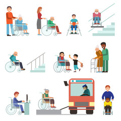 Disabled handicapped diverse people wheelchair invalid person help disability characters vector illustration.