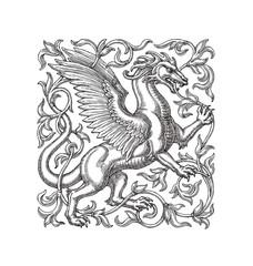 Крылатый дракон в орнаменте, рисунок тушью на белом фоне.