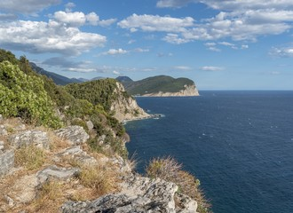 Coast of Montenegro in the Petrovac area. Aerial view.