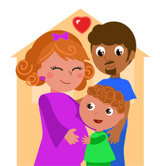 Mixed races family with pregnant mother, vector illustration
