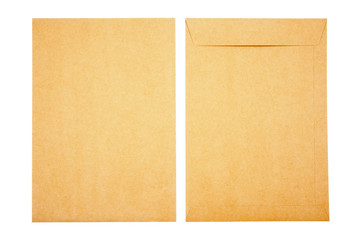 It is two brown document envelope isolated on white background