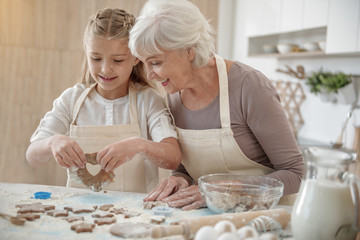 Cheerful grandchild making cookies with granny