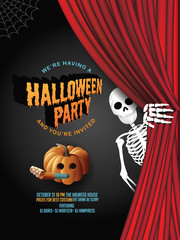 Halloween party background with pumpkins and skeleton. EPS 10 vector illustration.