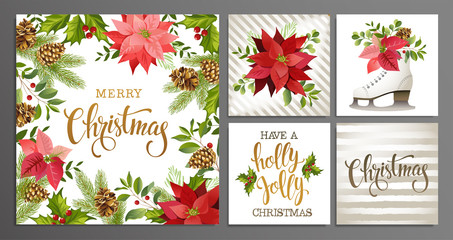 Merry Christmas Template Set for Greeting Scrapbook, congratulations, invitations, banner, stickers, postcards. Vector illustration.