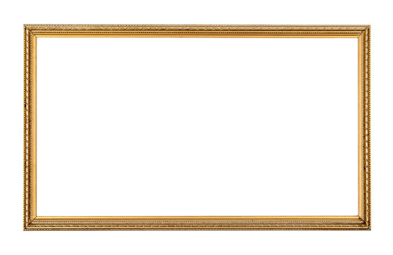 Rectangle antique gold frame isolated on the white background.Rectangle gold frame isolated.Golden frame isolated