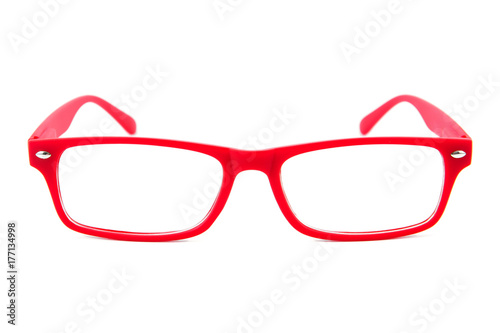 Red Woman Eye Glasses Isolated Isolated On White Background