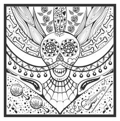 Mexican zentangle Day of Dead Dia de Muertos