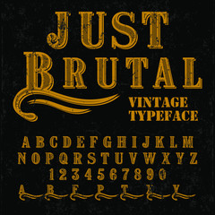 Vintage vector font - typeface design
