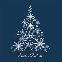Christmas and New Year. Vector greeting card with Christmas tree. Hand drawn