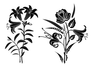 Rose and lily tattoo. Silhouette of flowers and leaves on a white background.