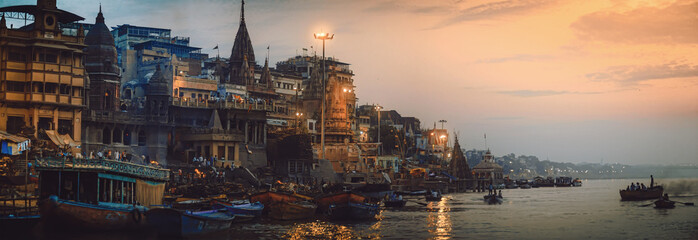 Varanasi India.  The oldest living city panorama Fotomurales