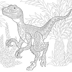 Coloring page of velociraptor dinosaur of the late Cretaceous period. Freehand sketch drawing for adult antistress coloring book in zentangle style.