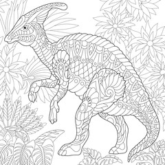 Coloring page of hadrosaur dinosaur of the middle to late Cretaceous period. Freehand sketch drawing for adult antistress coloring book in zentangle style.