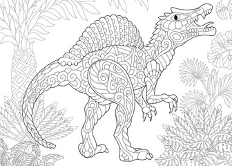 Coloring page of spinosaurus dinosaur of the middle Cretaceous period. Freehand sketch drawing for adult antistress coloring book in zentangle style.