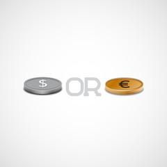 Vector coins, dollar or euro.
