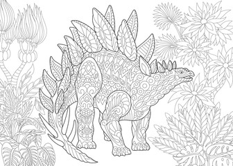 Coloring page of stegosaurus dinosaur of the Jurassic and early Cretaceous periods. Freehand sketch drawing for adult antistress coloring book in zentangle style.