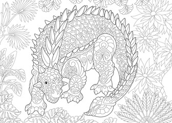 Coloring page of ankylosaurus dinosaur of the Cretaceous period. Freehand sketch drawing for adult antistress coloring book in zentangle style.
