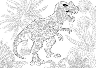 Coloring page of tyrannosaurus (t rex) dinosaur of the late Cretaceous period. Freehand sketch drawing for adult antistress coloring book in zentangle style.