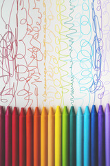 Squiggly lines drawn from crayons...