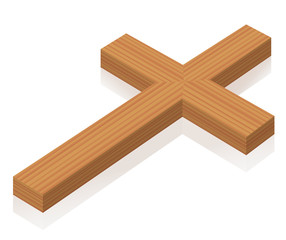 Christian cross lying on the ground - isolated 3d vector illustration on white background.