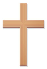 Wooden Christian cross, religious symbol of Christianity - ordinary, simple, rustic style, front view - isolated vector illustration on white background.