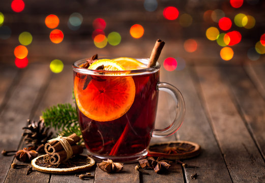 Hot mulled wine with cinnamon and star anise