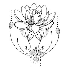 Vector drawing with outline Lotus flower, decorative lace and swirls in black isolated on white background. Floral abstract composition with ornate lotus in contour style for tattoo design.