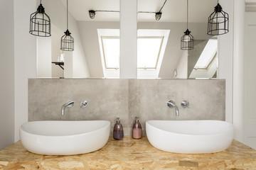 Bright bathroom interior in attic
