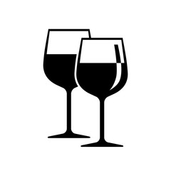 Black wineglass vector icon on white background