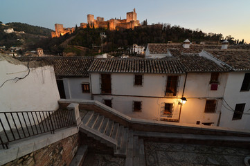 Views of Alhambra at sunset from the Albayzin
