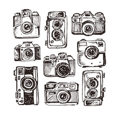 Hand drawn vector retrocamera. Take a good shot!