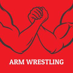 Arm wrestling image, in linear design on red background, vector illustration