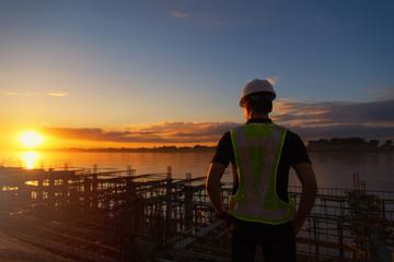 engineer working on building site.