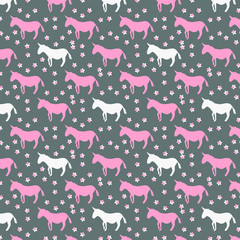 Decorative, colorful, abstract unicorn and stars pattern which can be used for design  fabric, backgrounds, wrapping paper.