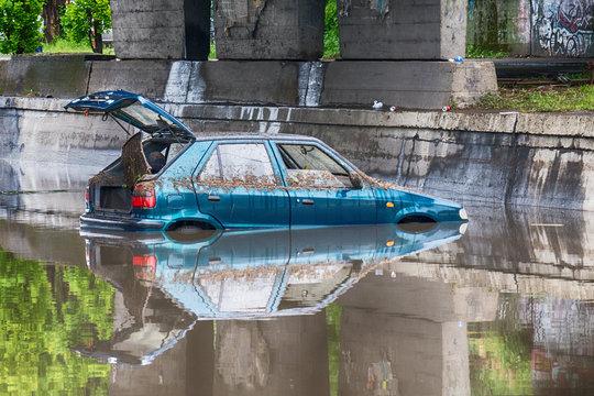 Novi Sad, Serbia may 23, 2017: Car stuck in Rural flooding