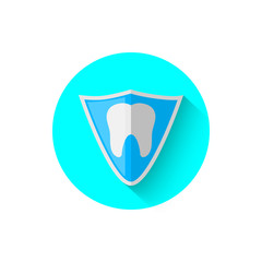 Tooth shield protection icon, illustrated in the flat design style of vector illustration. Modern icon stomatology in stylish tones. Website and design for mobile applications and other your projects