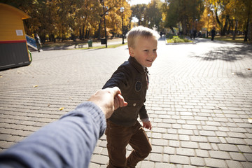 Follow me, Beautiful little boy holds the hand of a father