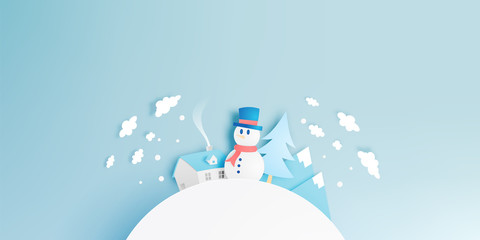 Snowman and Winter landscape with paper art style and pastel color scheme