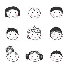 Set, collection of cute colorful doodle avatar icons isolated on white background.